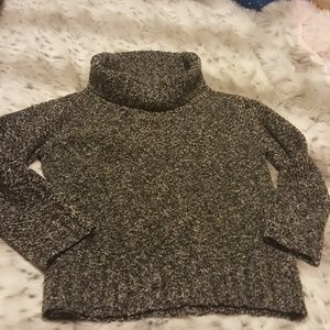 Gray speckled cowl neck sweater